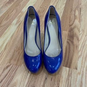 Joan and David blue patent heels